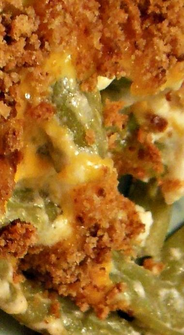 Green Bean Cobbler -use a little less sour cream and add Italian dressing to it. Then pretty good. -KS