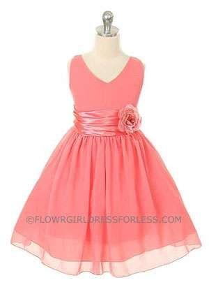 Flower Girl Dress Style 1082- Coral Crepe V-Neck Party Dress