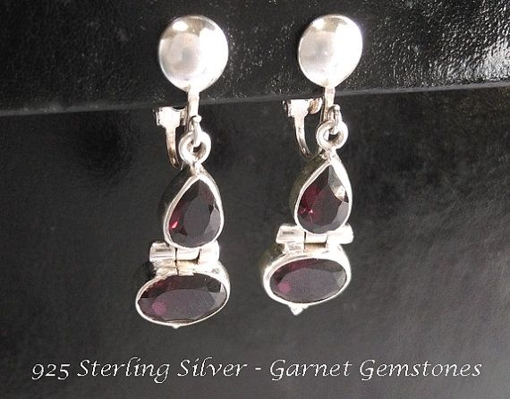 Silver Clip On Earrings: Stunning 925 Sterling Silver Clip On Earrings with Garnet Gemstones @ https://www.etsy.com/shop/EarringsArtisan and https://www.etsy.com/shop/ClipOnEarringsShop #cliponearrings #sterlingsilvercliponearrings #clipearrings #clip #earrings #silverearrings #silvercliponearrings #clipon #garnet