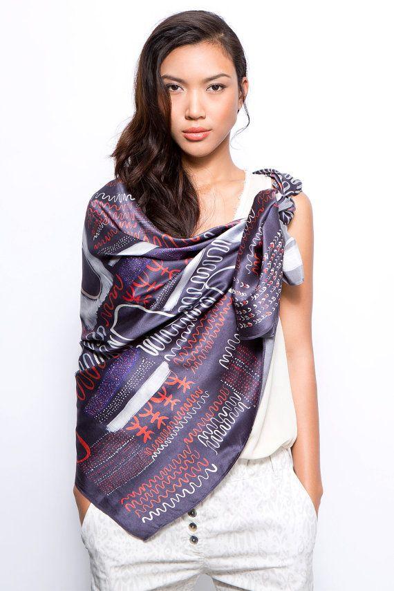 Miss Etsy - Printed silk scarf, NOW ON SALE, African Silk shawl, Oversized scarf, Huge scarf, Printed shawl, Original print by Dikla Levsky