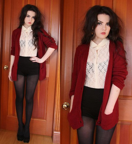 Lace Blouse + Red Boyfriend Knit Cardigan + Black Shorts + Sheer Black Pantyhose + Jefferey Campbells