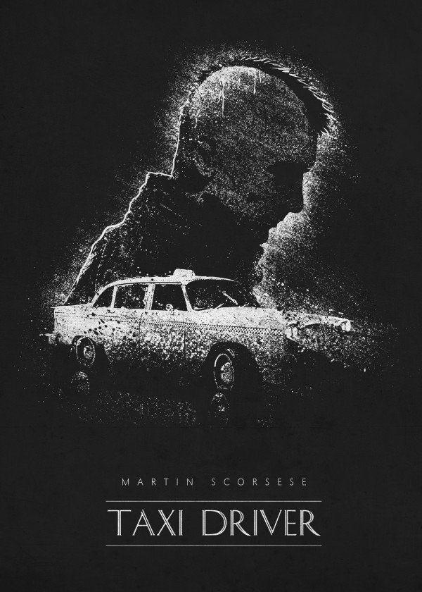 taxi driver martin scorsese black white retina creative classic movie psoters movies minimal minimalistic minimalism film films