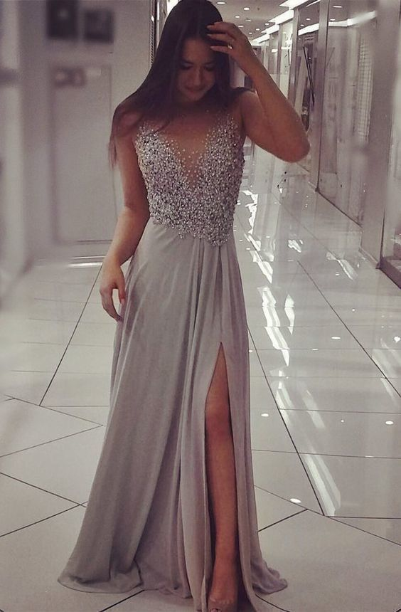 Grey Chiffon Sparkly Beaded Prom Dress with Slit,Sexy V-Neck Prom Dress, evening gowns, formal dresses