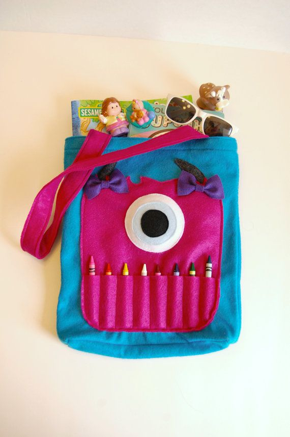 Peacock Blue Felt Monster Coloring Tote Bag by BetterThanPerfect, $25.00