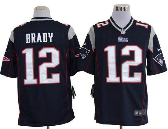 Nike Patriots #12 Tom Brady Blue Team Color Mens NFL Game Jersey