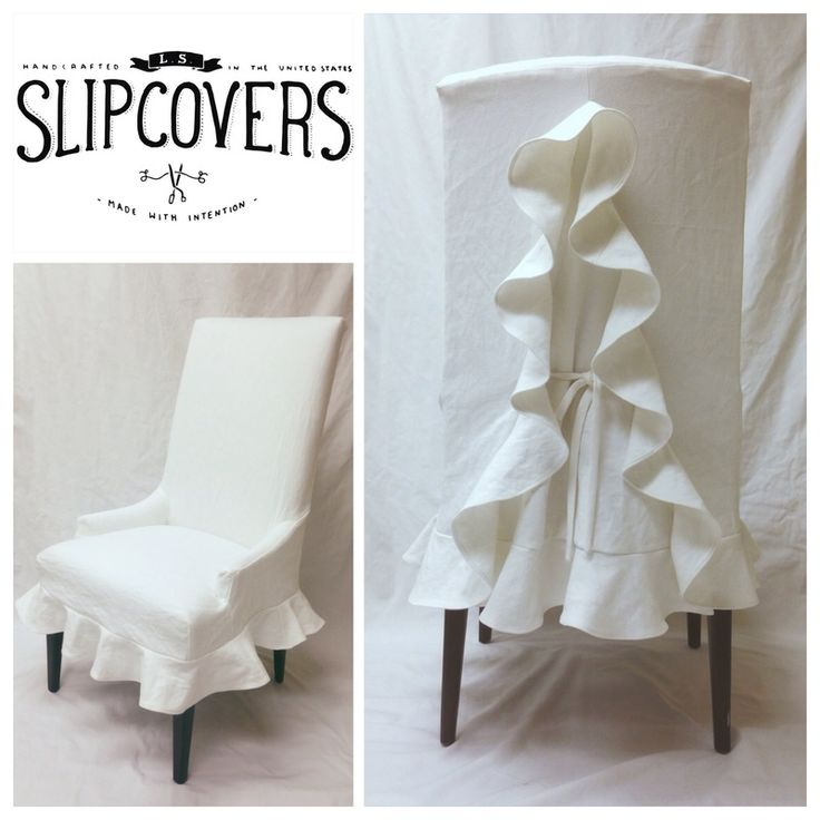 White cotton/linen blend slipcover with circle ruffled skirt and inverted back pleat with ties, cut on a bias. Designed by Laura KM of LS Slipcovers.