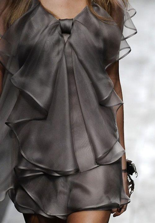 ruffles: Ruffle, Fashion, Style, Clothes, Beautiful, Dresses, Gray