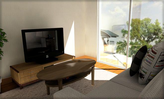 リビングとしては狭い6畳サイズの部屋を、木目があたたかく感じるようなナチュラルなイメージでコーディネートしました。ソファやローテーブルは無印良品の家具をイメージしています。 基本的に狭いので、必要最低限の家具だけレイアウ …
