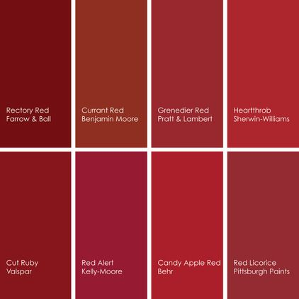 1. Rectory Red 217, from Farrow & Ball, is a beautiful deep, saturated red. 2. Currant Red 1323, from Benjamin Moore, has some orange in it, making it a warm red. 3. Grenedier Red 3-14, from Pratt & Lambert, has blue in it, making it a cooler red. 4. Heartthrob SW6866, from Sherwin-Williams, is a vibrant and true red.