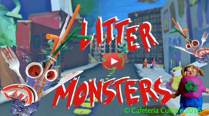 """Watch """"Litter Monsters""""- created by PS 34 M 5th grade students as part of Cafeteria Culture's Arts+Media for Trash Free Waters program."""