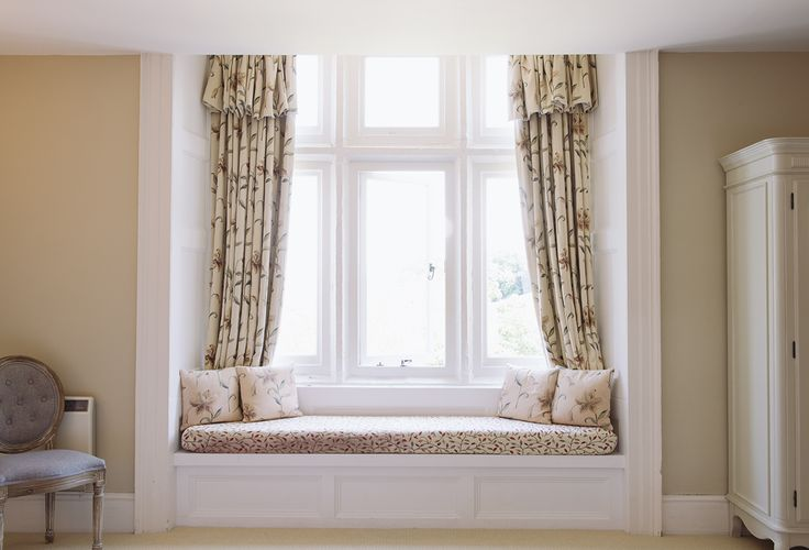 Window seat, designer soft furnishings interior decor. Queen suite - Langdon court, manor house hotel Devon. http://bit.ly/king-queen-suite