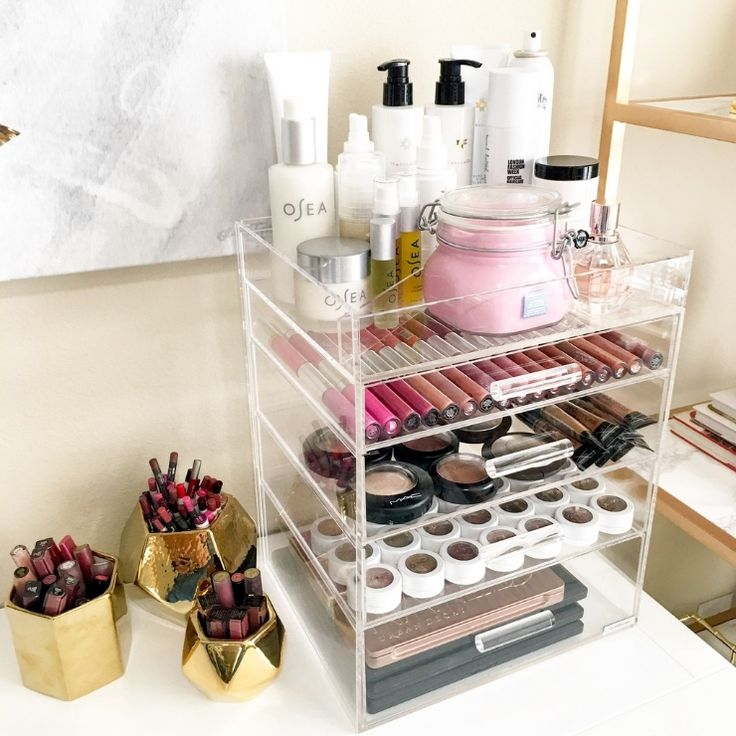Acrylic makeup storage is the way to go for no fuss makeup organization.