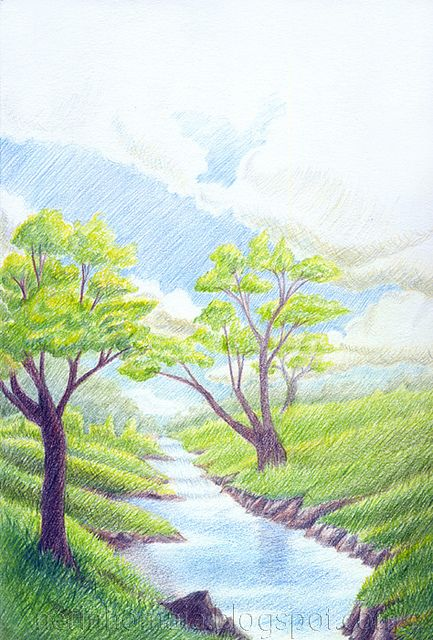 Landscape in colored pencil