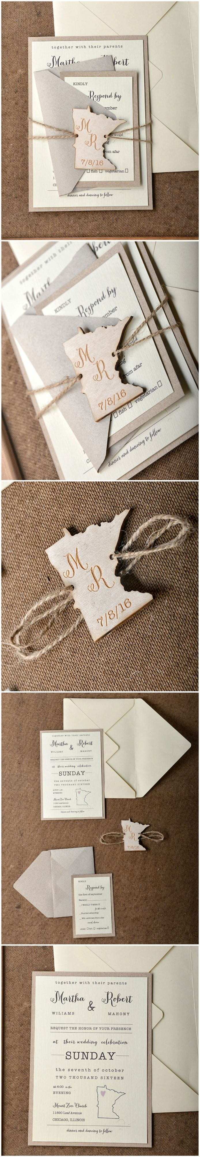 Eco Rustic Wedding Invitations with map tag #rustic #weddinginvitations #wood #wooden #custom #wood