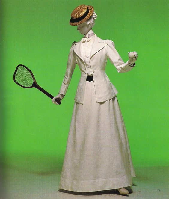 """Tennis Suit, c. 1890. White cotton piqué; tight tailored jacket and ankle-length skirt. From """"Fashion: A History from the 18th to the 20th Century,"""" Kyoto Costume Institute.:"""