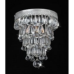 @Overstock - This beautiful crystal cone chandelier adds sophisticated beauty to any decor. The flush ceiling light fixture features an iron base with a matte silver finish and decorative details.http://www.overstock.com/Home-Garden/Cone-Shape-Matte-Silver-Flushmount-Ceiling-Chandelier/6708948/product.html?CID=214117 $129.99