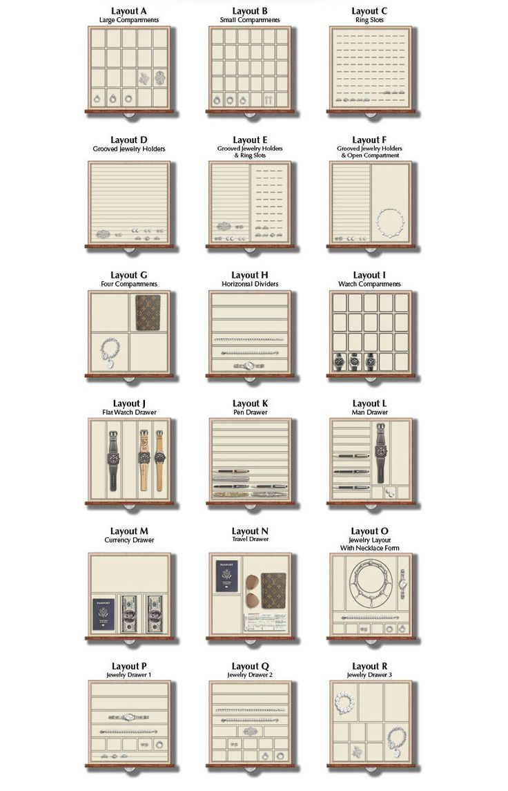 Jewelry Safe 19 interior drawer layout options so that you can organize your jewelry your way. Plus, all inserts are interchangeable so you can swap interiors from drawer to drawer and easily change inserts as your jewelry collection grows.