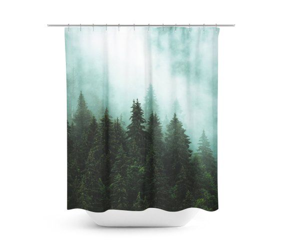 Tree Shower Curtain Pine Trees Forest Wanderlust Rustic Nature