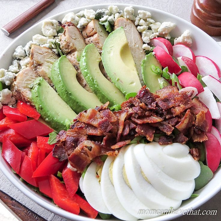 Cobb Salad is the KING of salads. At just 5 net carbs, it's a low carb dream.   low carb, gluten-free, keto   momcanihavethat.com
