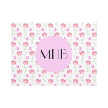 Monogram - Flowers Leaves Plant Stems - Pink Doormat - floral style flower flowers stylish diy personalize
