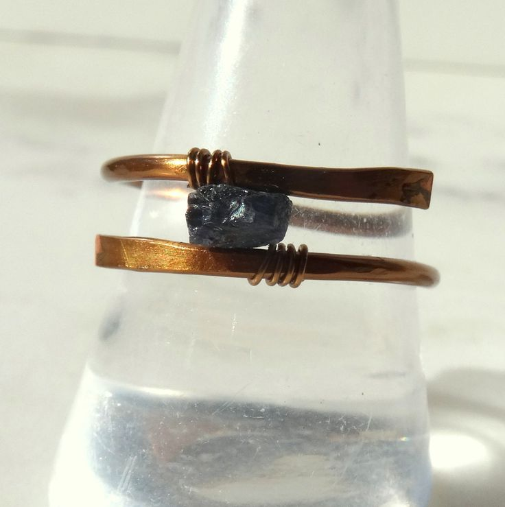 Raw Sapphire ring, solitaire Sapphire, blue Sapphire ring, September birthstone, boho chic ring, contemporary bespoke jewellery, Nickel free - pinned by pin4etsy.com