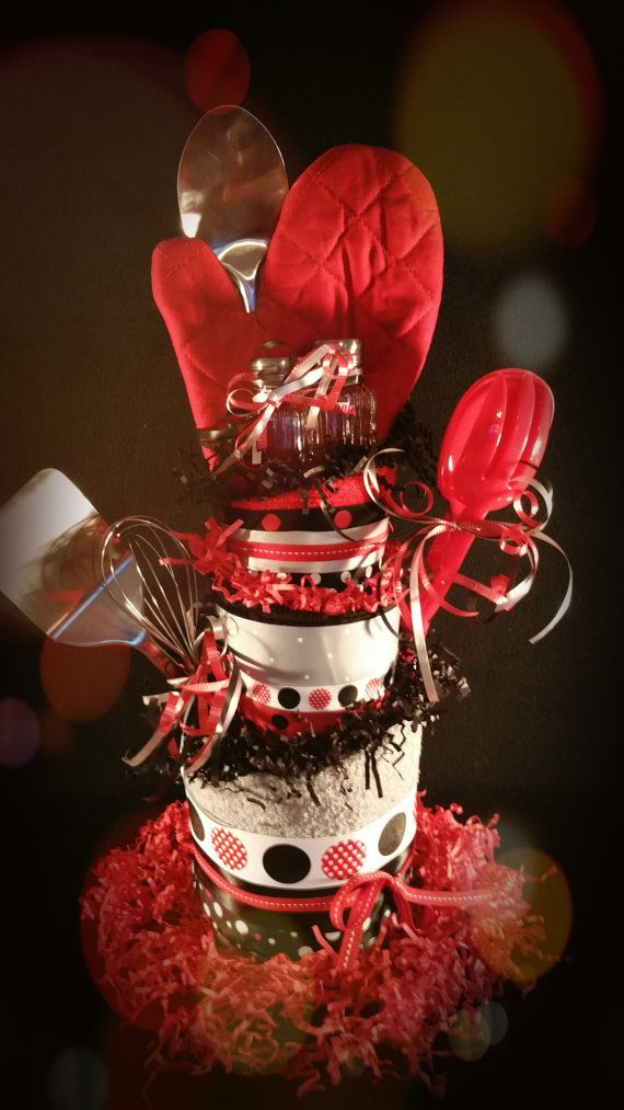 Kitchen Towel Cake-3 Tier Topsy Turvy Red and by TiersofJoybyUs
