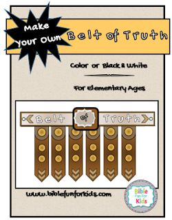 Free Printable Belt of Truth in 2 sizes @ www.biblefunforkids.com
