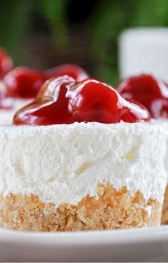 "No Bake Cheesecake. This is my most requested dessert ever. I've been making it since long before I could ""cook"". I usually add a tsp of vanilla also. And usually only 1/3 cup of sugar."