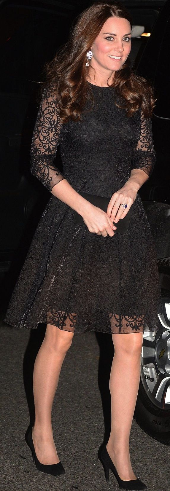 Kate Middleton wearing black lace on her first visit to NYC