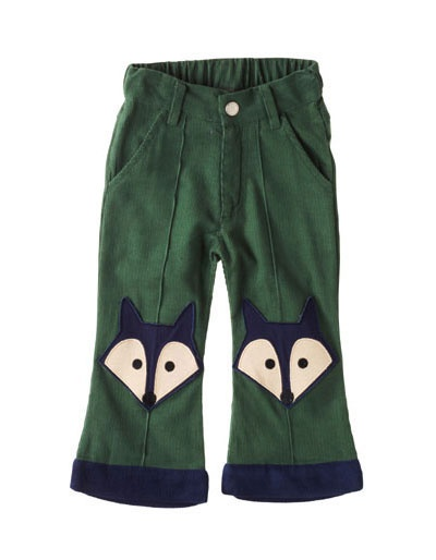 Army green ribvelvet trousers with 2 foxes - Ej Sikke Lej