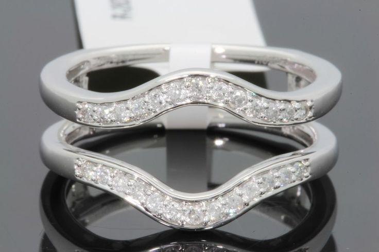 10K WHITE GOLD SOLITAIRE ENHANCER .28 CARAT DIAMOND RING GUARD WRAP WEDDING BAND    eBay