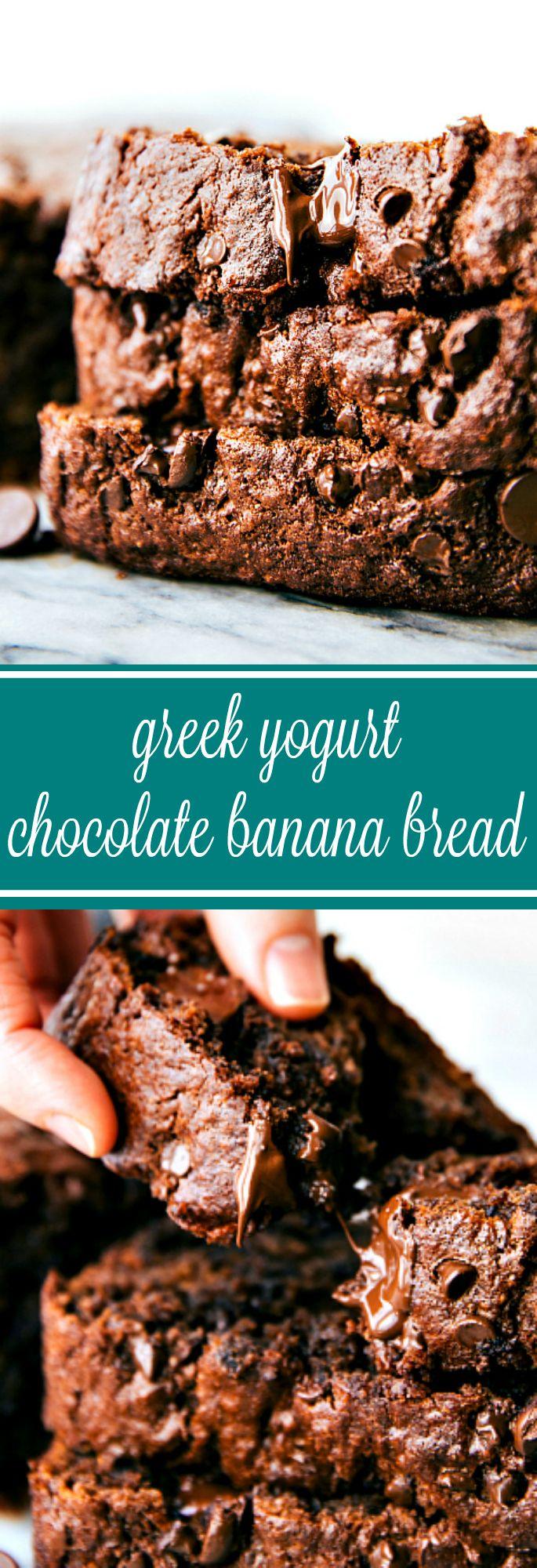 HEALTHY GREEK YOGURT CHOCOLATE BANANA BREAD! A delicious and moist chocolate banana bread made with healthier ingredients! One bowl, no mixers required!