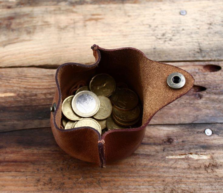 L'ESCARCELLE bourse en cuir souple, porte-monnaie avec bouton pression PAUL…