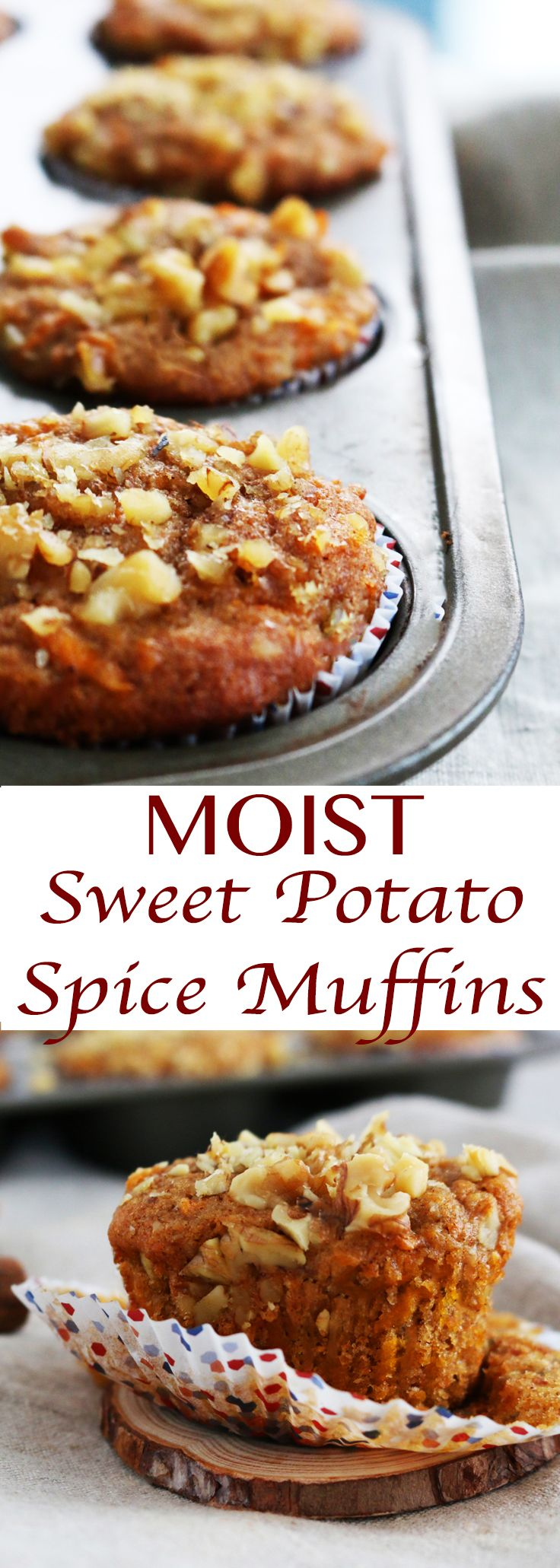 Moist whole wheat, sweet potato muffins with warm spices and greek yogurt. Ideal on the go breakfast  or snack.