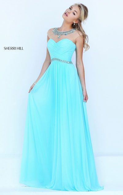 Beaded Aqua 2016 Boat-Neck Sherri Hill 50442 Sheer Long Ruched Prom Dresses