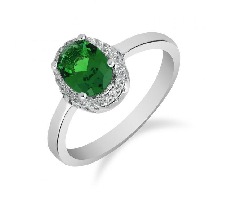 Elegantní stříbrný prsten s oválným smaragdem a zirkony