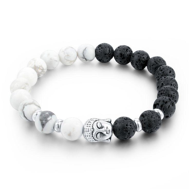 Lava Stone Strand Bracelets & Bangles Natural Stone Bead Buddha Bracelets for Women Black and White mens jewellery SBR160030