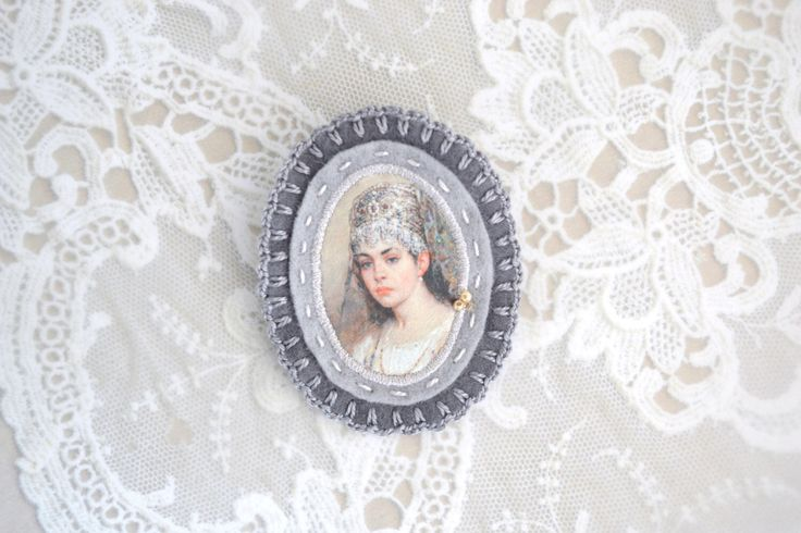russian lady grey felt brooch with lady portrait - genre painting brooch - victorian style brooch  - gift for her - museum painting brooch by redstitchlab on Etsy https://www.etsy.com/listing/226061335/russian-lady-grey-felt-brooch-with-lady