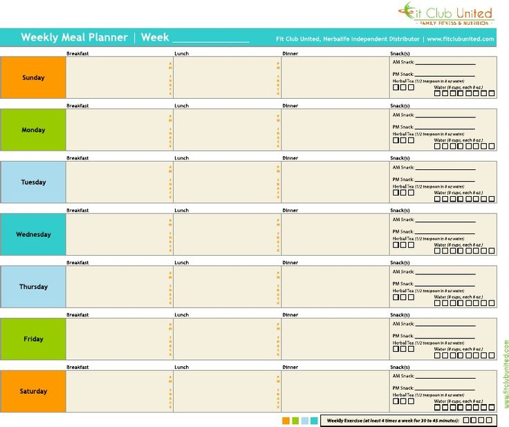 Fit Club United Weekly Meal Planner - Herbalife Weight Loss Plan BLANK | Scribd