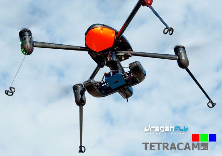 Multispectral imaging has long been used to collect data-rich images which reveal things not visible to the naked eye, but equipment for this has traditionally been bulky, heavy, and expensive. Taking advantage of the newly miniaturized Tetracam ADC Micro camera, Draganfly Innovations