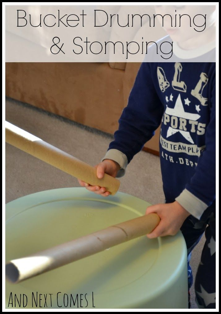 Bucket drumming and stomping from And Next Comes L - a simple music activity that will get kids active!