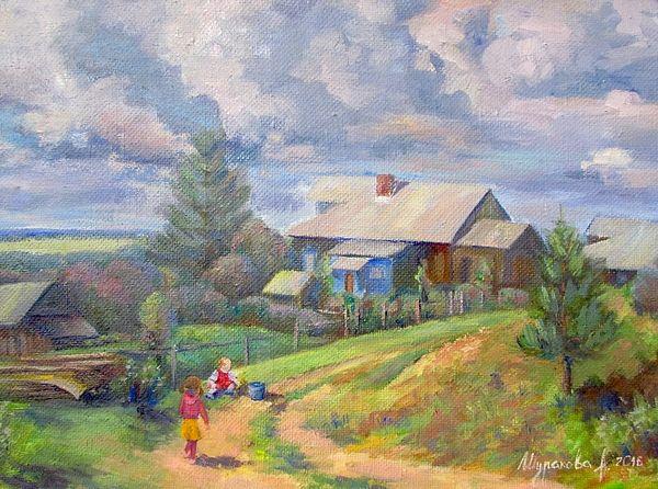 #summer, #countryside, #landscape, #sun, #pine, #road, #sky, #clouds, #children, #childrenplaying, #child, #happiness, #summerday, #painting, #rurallandscape, #russianpainting, #russianartist, #print, #annashurakova, #summer, #impressionism, #sky, #popular, #nature, #romantic, #scenic #spots