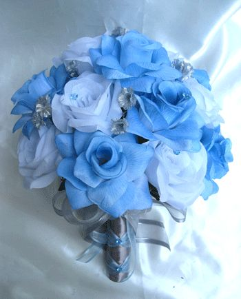 Wedding Bouquet Bridal Silk Flowers Blue Silver White 17pc Package Decorations