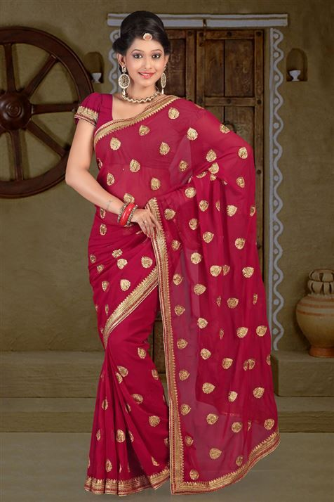 Chiffon Maroon party wear saree
