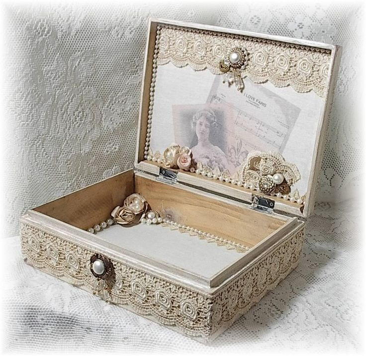 Image detail for -Shabby Vintage French Chic Altered Art Keepsake Box -- SOLD