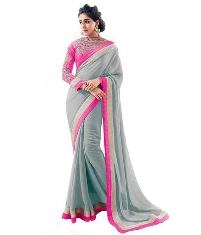 fe0715024a Mahi Fashion ~ Products ~ Modern Designer Bhabhiji Grey and Pink Plain  Georgette Saree with Blouse