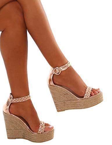 dd8d3697107139 Minetom Sandales Femme Mode Casual Cheville Sandale Talon Compensé Or High  Heels Été Sexy Sandals Espadrille Or EU 43
