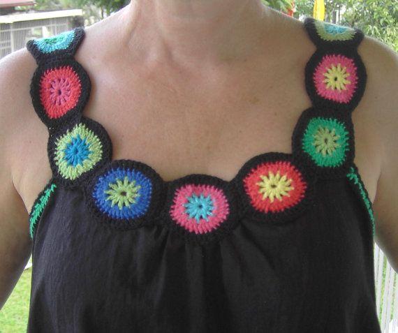 Top negro con crochet Nekline, Estilo boho, Estilo hippie, Estilo gitano, talla M