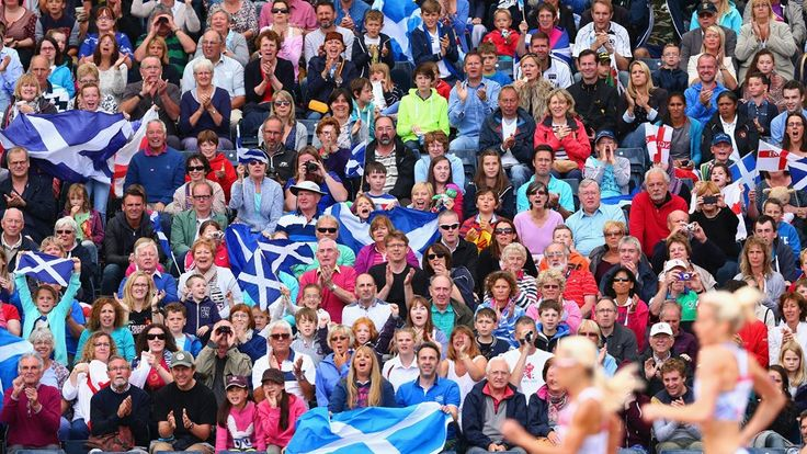 Fans watch the women's 800m heats at Hampden Park during day seven. Many competitors commented on the warm reception from spectators during Glasgow 2014 events.