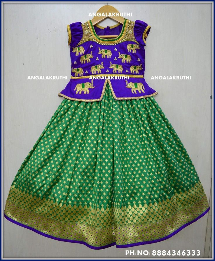 Kids lehenga designs with elephant hand embroidery designs by Angalakruthi boutique Bangalore Watsapp:8884347333